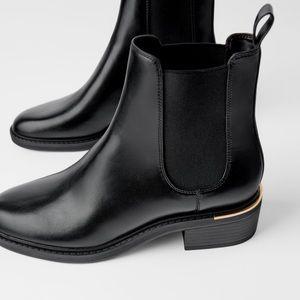 Zara Low Heel Black Chelsea Ankle Boot Gold Trim